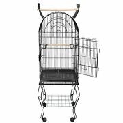 63 Rolling Steel Open Top Bird Cage With Detachable Stand Cockatiel Macaw