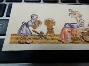 1950 Era Pen And Ink Miniature Artwork - Medieval Labourers Reaping A Crop Farming