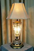 Vintage Two-flame Crystal Waterford Style Large Lamp 3-way Switch-free Ship U.s