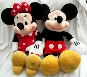 Mickey And Minnie Mouse 16 Plush Disney Stamp Foot Retired-rare Combo-new