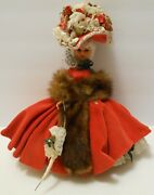 Red Velvet Dress And Fancy Floral Hat Vintage Collectible Doll Parasol Stole
