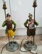 Antique Table Lamps Cavalier And Musketeer Cast Spelter 2large Heavy Metal Bronze