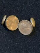 1909 Lincoln Penny Goldtone Bezel Coin Cuff Links