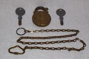 Vintage Post Office Postal Brass Street Letter Mail Box Lock 2 Keys And 30 Chain