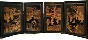 Lot 4 China Chinese Black Lacquered Wood W/ Polychrome Figural Decoration Ca.19c