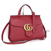 421890 Gg Marmont 2way Shoulder Hand Bag Embossed Leather Red Ex++