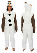 Official Frozen Olaf The Snowman Union Suit Costume Hooded Pajama Onesie0