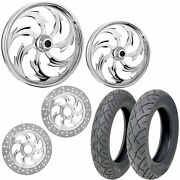 Rc Assault Chrome 21/18 Front Rear Wheel Package Set Tires Rotors Harley Touring