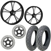 Rc Clutch Eclipse 21/18 Front Rear Wheel Package Set Tires Rotors Harley Touring