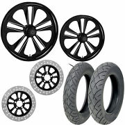 Rc Crank Eclipse 21/18 Front Rear Wheel Package Set Tires Rotors Harley Touring