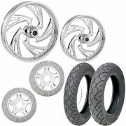Rc Crisis Chrome 21/18 Front Rear Wheel Package Set Tires Rotors Harley Touring