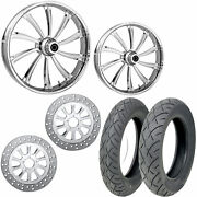 Rc Cypher Chrome 21/18 Front Rear Wheel Package Set Tires Rotors Harley Flh/t
