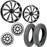 Rc Cypher Eclipse 21/18 Front Rear Wheel Package Set Tires Rotors Harley Flh/t
