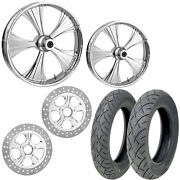 Rc Helo Chrome 21/18 Front Rear Wheel Package Set Tires Rotors Harley Flh/t
