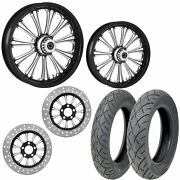 Rc Imperial Eclipse 21/18 Front Rear Wheel Package Set Tires Rotors Harley Flh/t