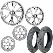 Rc Majestic Chrome 21/18 Front Rear Wheel Package Set Tires Rotors Harley Flht