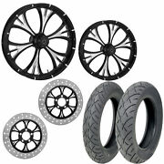 Rc Majestic Eclipse 21/18 Front Rear Wheel Package Set Tires Rotors Harley Flht