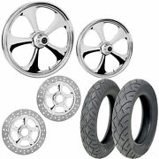 Rc Nitro Chrome 21/18 Front Rear Wheel Package Set Tires Rotors Harley Flh/t