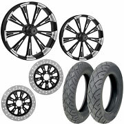 Rc Raider Eclipse 21/18 Front Rear Wheel Package Set Tires Rotors Harley Flh/t