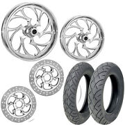 Rc Shifter Chrome 21/18 Front Rear Wheel Package Set Tires Rotors Harley Flh/t