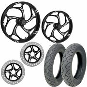Rc Torsion Eclipse 21/18 Front Rear Wheel Package Set Tires Rotors Harley Flh/t