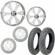 Rc Valor Chrome 21/18 Front Rear Wheel Package Set Tires Rotors Harley Flh/t