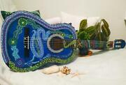 Decorated Acoustic Classic Guitar Acrylic Aboriginal Painting Collectible Art