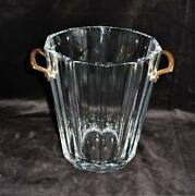 Baccarat French Crystal Harmonie Champagne Ice Bucket 9 Multi Sided Gold Handle