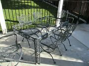 Vintage Wrought Iron Woodard Andalusian Dining Set Or Patio Set