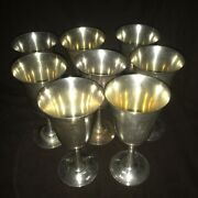 Wallace 14 Sterling Silver Water Wine Goblet Set Of 8 No Monogram