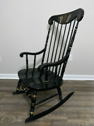 Ethan Allen Hitchcock Windsor Style Black Gold Cape Cod Rocking Chair Maple Wood