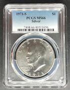 1971-s Silver Eisenhower Dollar Pcgs Ms-66 Buy 3 Items Get 5 Off