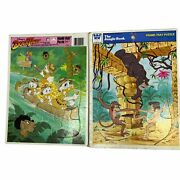 2 Vintage Disney Frame-tray Puzzles Jungle Book And Duck Tales Cartoon Kids