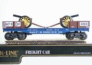 K-line O/ 0-27scale K-661-1091 Baltimore And Ohio Classic Flat W/2 Cannons