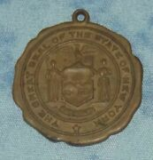Vintage Great Seal Of State Of New York Medal Pendant 14k Gold Plated