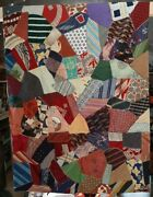 Antique Silk Handmade Patchwork Crazy Quilt 80 X 45 Gorgeous Very Old