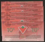 Canadian Tire Money 150th Anniversary 10 Cent Bill 5 Consecutive Numbers