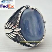 Turkish 925 Sterling Silver Airy Kyanite Stone Mens Mans Ring Usa All Sizes
