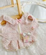 Handmade Pink Tweed Elegant Dogandcat Clothes Dress Outfit Pearls Style Chain Bag