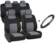 Front/rear Car Seat Covers + Microfiber Leather Steering Wheel Cover Gray