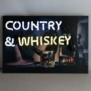 New Country And Whiskey Acoustic Guitar Barrel Cowboy Western Style Neon Sign 🥃🥃