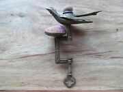 Antique Victorian Brass Sewing Bir Double Pin Cushion Clamp
