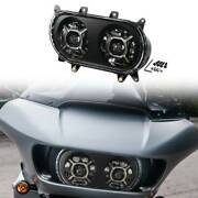 Led Dual Double Headlight Projector Fit For Harley Touring Road Glide 2015-2021