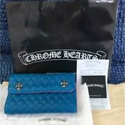 Chrome Hearts Rare Wallet Quilted Leather Blue Free Shipping From Japan