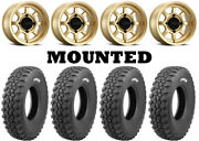 Kit 4 Tensor Ds32 Hard Tires 32x10-15 On Method 410 Bead Grip Gold Wheels Can