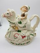 """Lenox For The Holidays """"elf And Rocking Horse Teapot"""" Santa's Holiday Toy Shop53"""