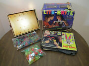 Vintage Original 1967 Lite-brite Toy 5455 W/ Pegs And Alphabet Pegs And Papers