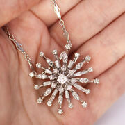 One-of-a-kind 1 Ctw Natural Diamond 14k Gold Snowflake Brooch-pendant Necklace