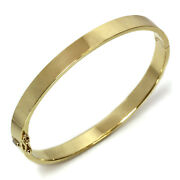 Heavy Wide 6mm Plain Solid 14k Yellow Gold Oval Bangle Bracelet 6 To 8 Inches