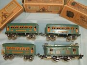 Lionel Prewar 253 Engine 2x 607 Pullman Cars And 608 Observation Car Peacock Green